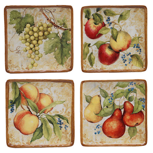 "Certified International Capri Set of 4 6"" Canapé Plates"