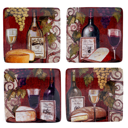Certified International Wine Tasting Set of 4 Canapé Plates