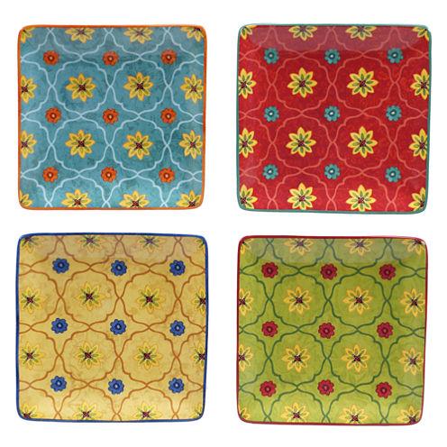 Certified International Tunisian Sunset Set Of 4 Canape Plates