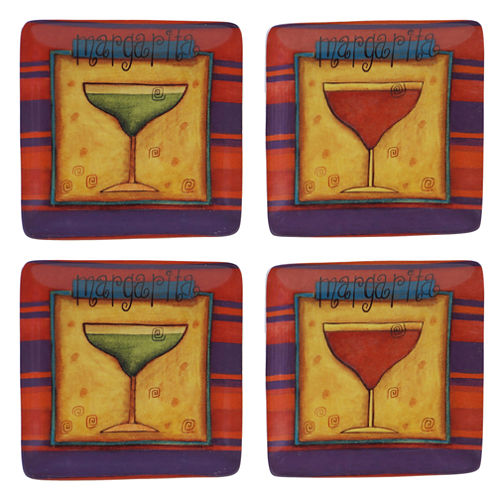 Certified International Salsa Set of 4 Canapé Plates