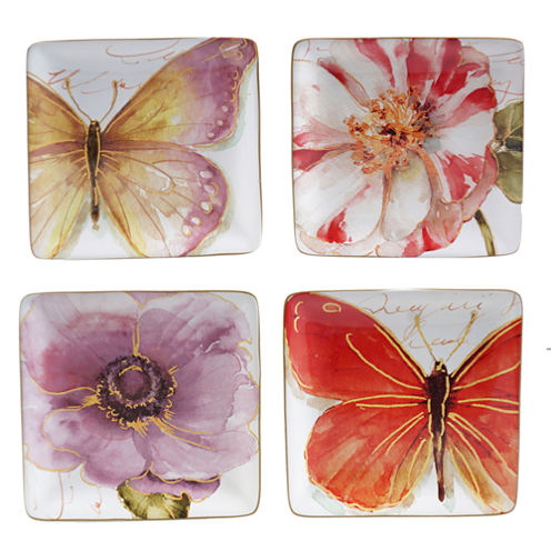 Certified International Rainbow Seeds Set of 4 Canapé Plates