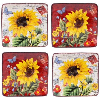 jcpenney.com | Certified International Sunflower Meadow Set Of 4 Canape Plates