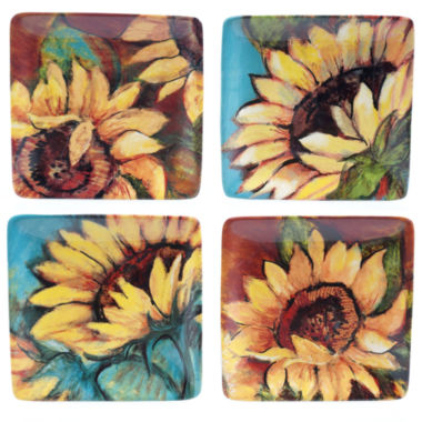 jcpenney.com | Certified International Sunflower Rooster Set Of 4 Canape Plates