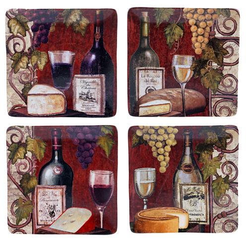 Certified International Wine Tasting Set of 4 Dinner Plates
