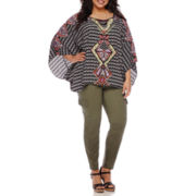 Bisou Bisou® Kaftan-Sleeve Draped Blouse or Cargo Studded Skinny Pants - Plus
