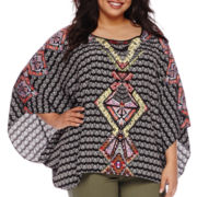 Bisou Bisou® Kaftan-Sleeve Draped Blouse - Plus