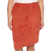 Bisou Bisou® Studded Asymmetrical Pencil Skirt - Plus