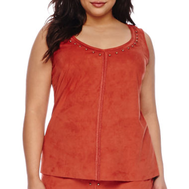 jcpenney.com | Bisou Bisou® Sleeveless Studded Top - Plus