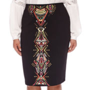 Bisou Bisou® Embroidered Scuba Skirt - Plus