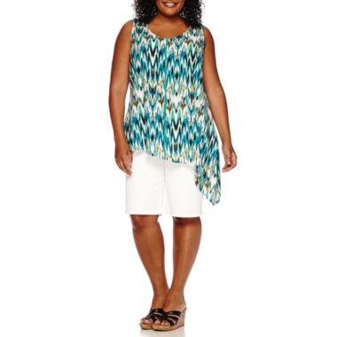jcpenney.com | St. John's Bay® Asymmetrical Tank Top or Denim Bermuda Pants - Plus