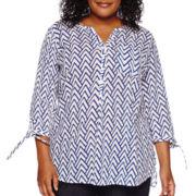 St. John's Bay® 3/4-Sleeve Gauze Tunic - Plus