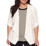Worthington® Roll-Tab Draped-Front Jacket - Plus
