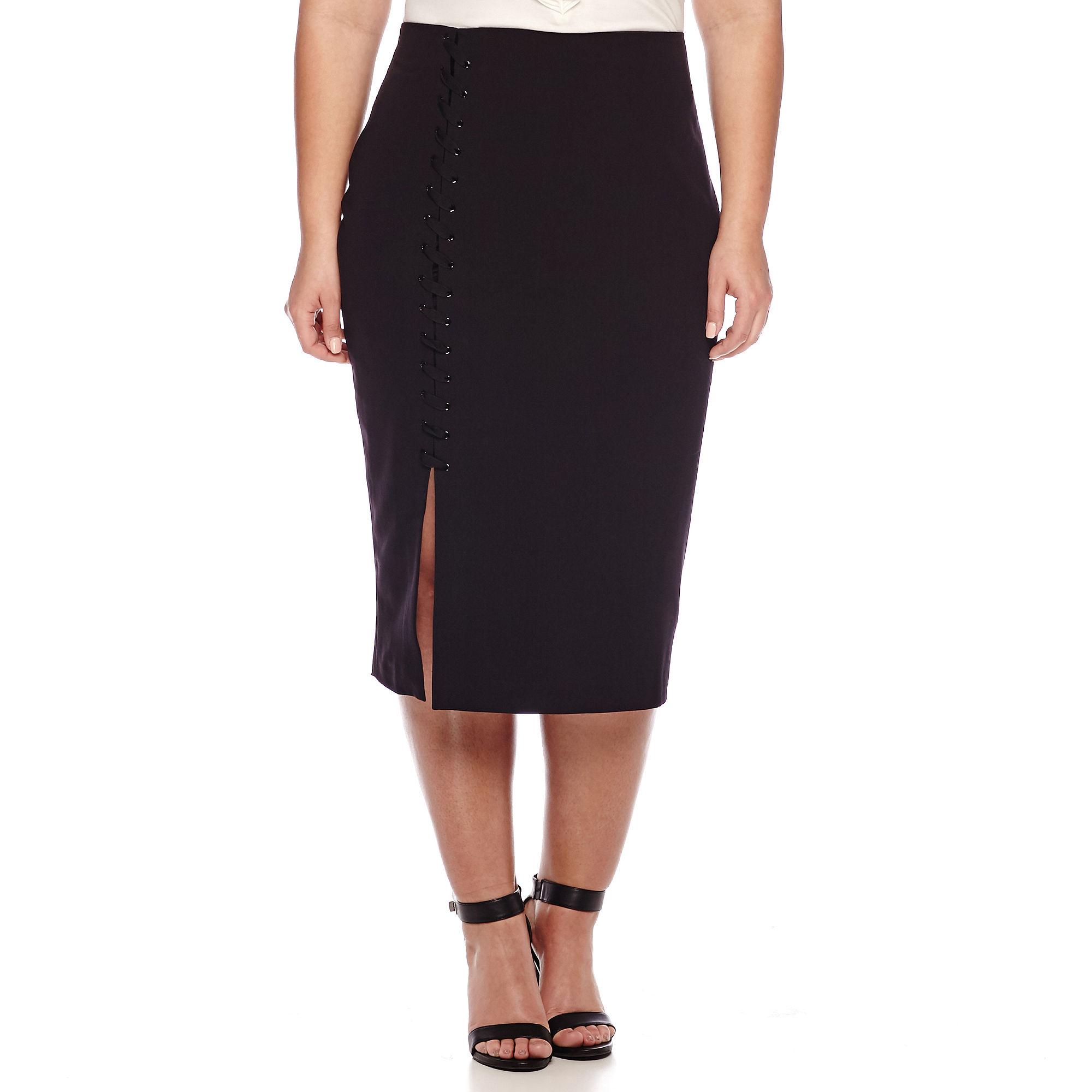 Worthington High-Waist Lace-Up Pencil Skirt - Plus plus size,  plus size fashion plus size appare