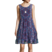 Love Reigns Sleeveless Chiffon Babydoll Dress with Necklace- Juniors