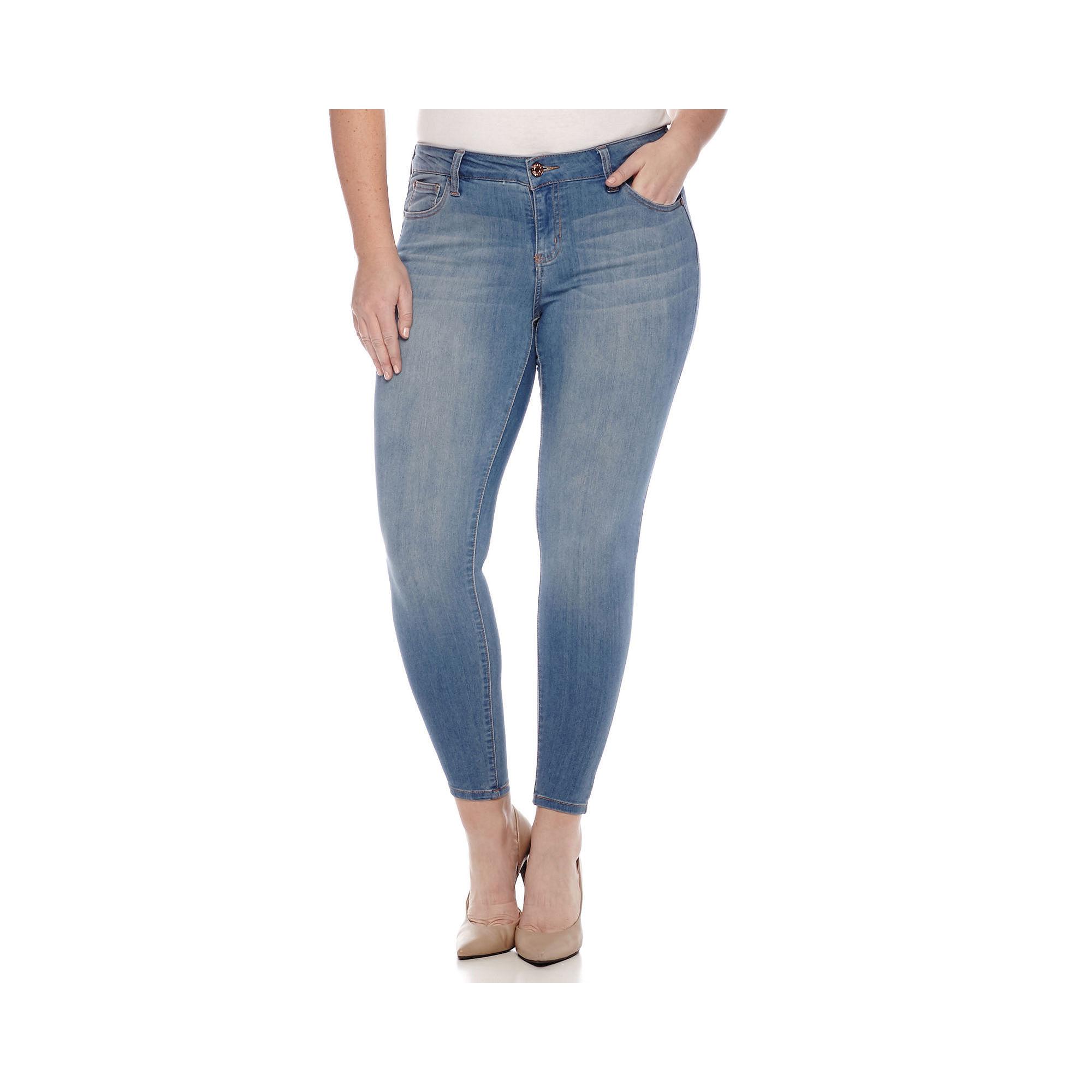 C-Pink Denim Skinny Jeans - Juniors Plus plus size,  plus size fashion plus size appare