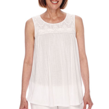 jcpenney.com | Sag Harbor® Baby Blues Sleeveless Crochet Trim Top