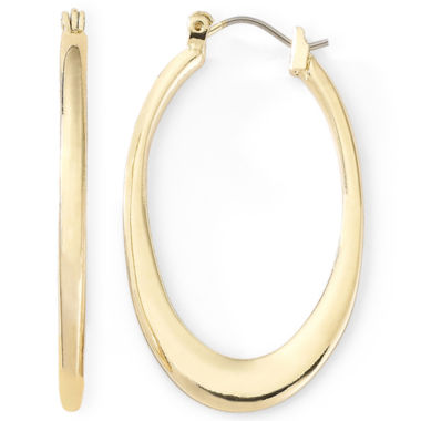 jcpenney.com | Liz Claiborne® Gold-Tone Oval Hoop Earrings