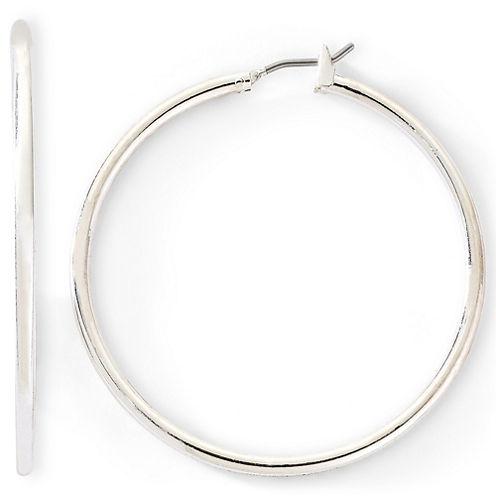 Liz Claiborne® Large Silver-Tone Hoop Earrings
