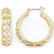 Liz Claiborne® Textured Gold-Tone Hoop Earrings