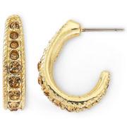 Monet® Gold-Tone Brown Stone Hoop Earrings