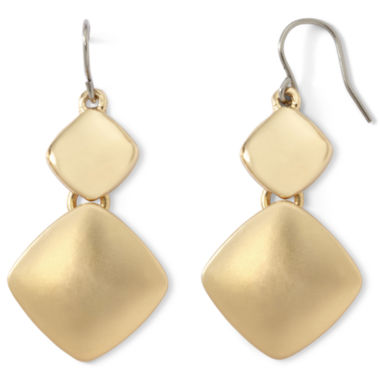 jcpenney.com | Liz Claiborne® Gold-Tone Double-Drop Earrings