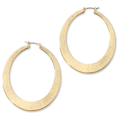 Liz Claiborne Large Textured Gold-Tone Hoop Earrings