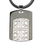 Mens Two-Tone Stainless Steel Cross Dog Tag