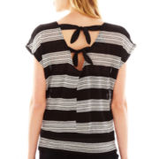 by&by Striped Open-Back Dolman-Sleeve Top