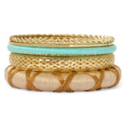 Aris by Treska Simulated Turquoise Bangle Set