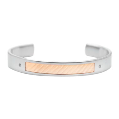 jcpenney.com | 18K Gold and Stainless Steel Diamond-Accent Mens Cuff Bracelet