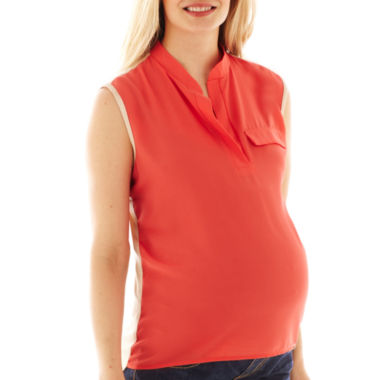 jcpenney.com | Maternity Sleeveless Two-Color Blouse