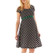 Maternity Short-Sleve Polka Dot Belted Dress