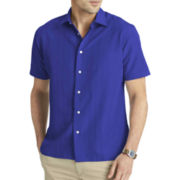 Van Heusen® Short-Sleeve Solid Engineered-Panel Sport Shirt