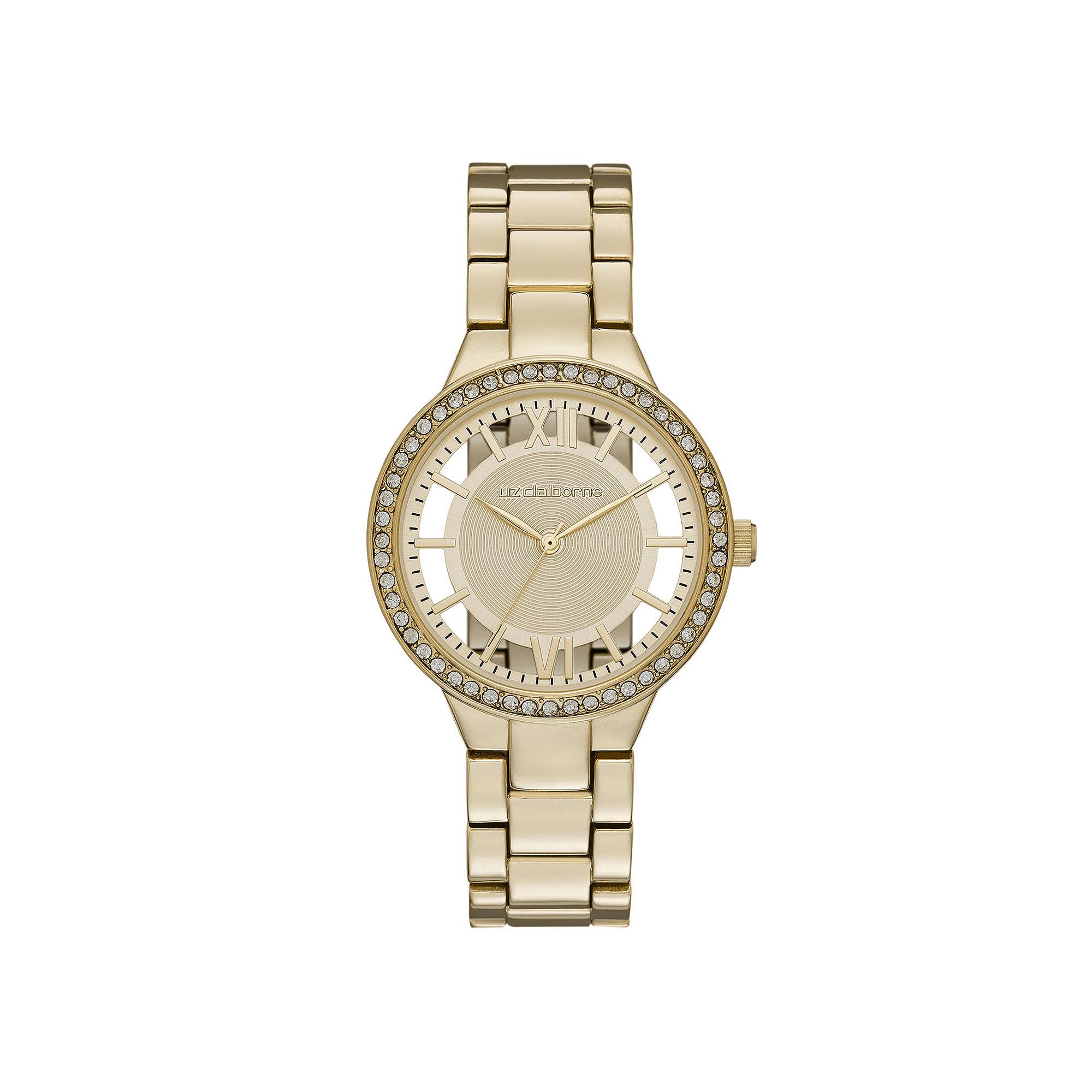 Liz Claiborne Womens Crystal-Accent Cutout Dial Gold-Tone Bracelet Watch