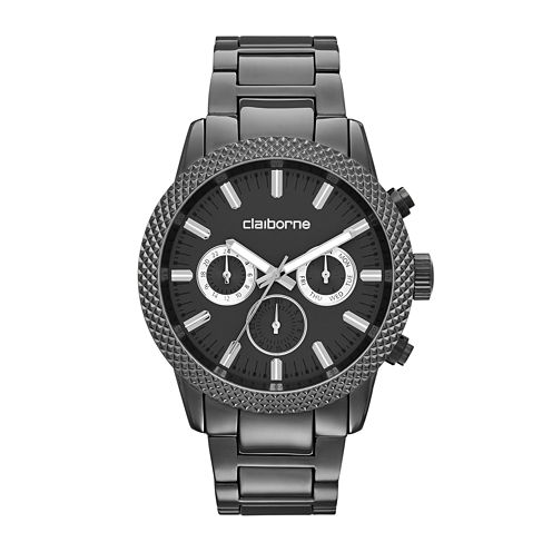 Claiborne® Mens Textured Bezel Gunmetal Watch