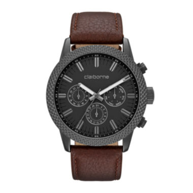 jcpenney.com | Claiborne® Mens Brown Textured Bezel Leather Strap Watch