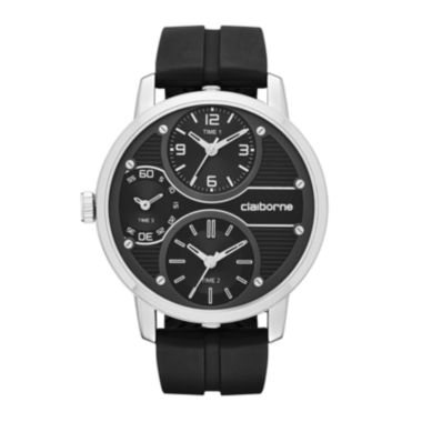 jcpenney.com | Claiborne® Mens Oversized Dial Black Silicone Strap Watch