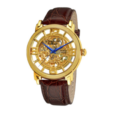 jcpenney.com | Stührling® Original Mens Gold-Tone Dial Croc-Look Strap Skeleton Automatic Watch
