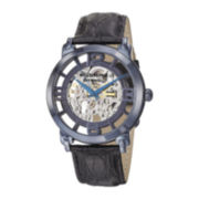 Stührling® Original Mens Blue Dial Croc-Look Strap Skeleton Automatic Watch