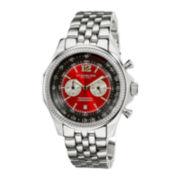 Stührling® Original Mens Red Dial Stainless Steel Watch