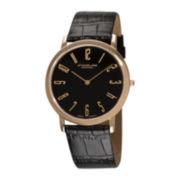 Stührling® Original Mens Black Dial Alligator-Look Black Leather Strap Watch