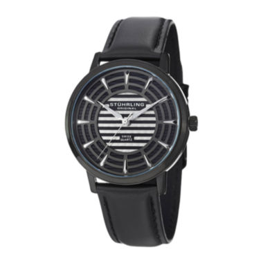 jcpenney.com | Stührling® Original Mens Black Dial Black Leather Strap Watch