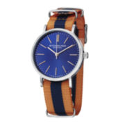 Stührling® Original Mens Striped Orange/Blue Canvas Strap Watch