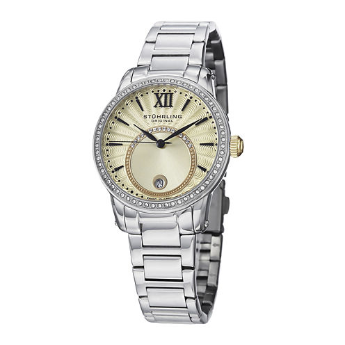 Stührling® Original Womens Crystal-Accent Gold-Tone Dial Bracelet Watch