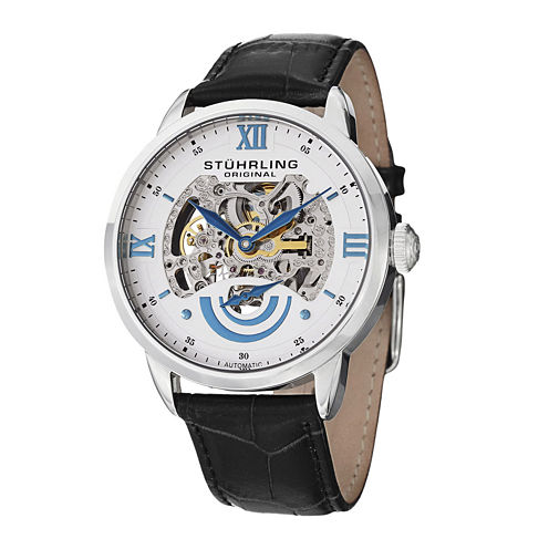 Stührling® Original Mens White Dial Skeleton Automatic Watch