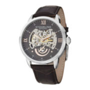 Stührling® Original Mens Gray Dial Skeleton Automatic Watch