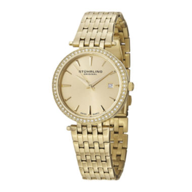 jcpenney.com | Stührling® Original Womens Crystal-Accent Gold-Tone Stainless Steel Watch