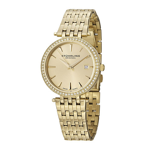Stührling® Original Womens Crystal-Accent Gold-Tone Stainless Steel Watch