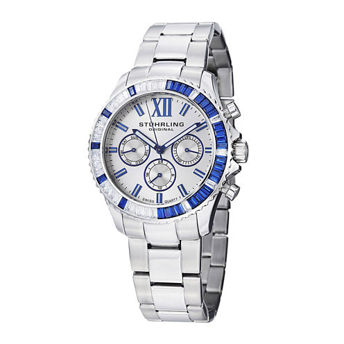 Stührling® Original Womens Crystal-Accent Silver-Tone Dial Bracelet Watch