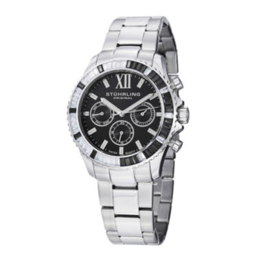 jcpenney.com | Stührling® Original Womens Crystal-Accent Black Dial Bracelet Watch